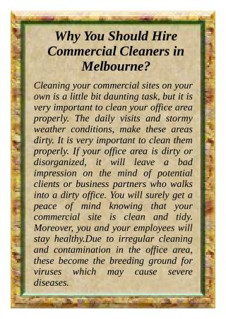 Why You Should Hire Commercial Cleaners in Melbourne?