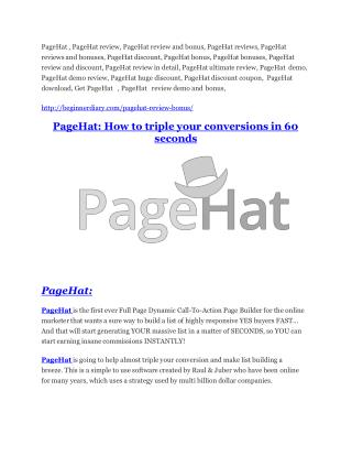 PageHat Review - SECRET of PageHat