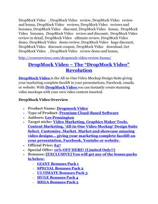 DropMock Video review - DropMock Video (MEGA) $23,800 bonuses