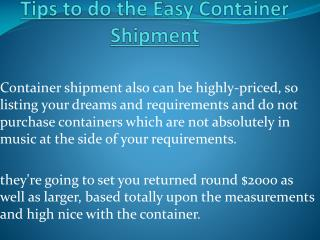 Container Shipment  Easy Tips