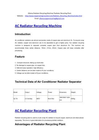 Allance Radiator Recycling Machine