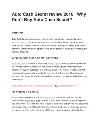 Auto Cash Secret review 2016 | Why Don't Buy Auto Cash Secret?