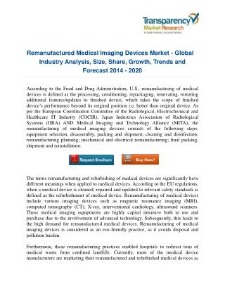 Remanufactured Medical Imaging Devices Market - New Tech Developments and Industry advancements to watch out for 2020!!