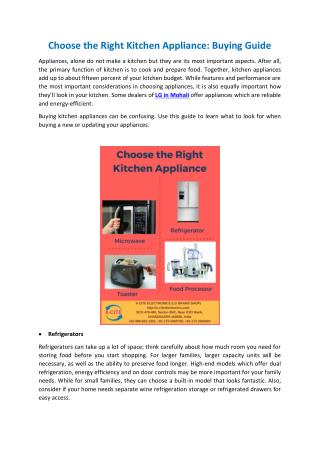 LG Kitchen Appliances in Zirakpur