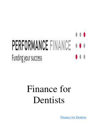 Finance for Dentists