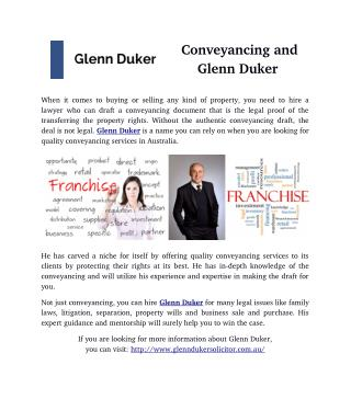 Conveyancing and Glenn Duker