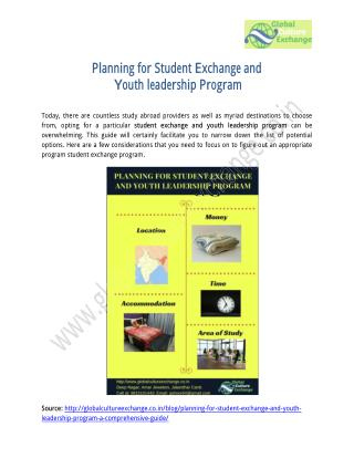 Planning for Student Exchange and Youth leadership Program – A Comprehensive Guide