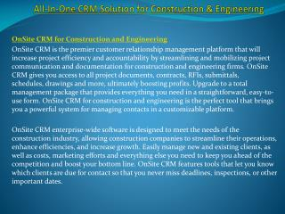 All-In-One CRM Solution for Construction & Engineering