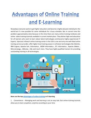 Advantages of online training and e-learning