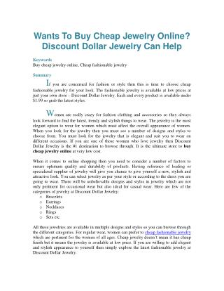 Wants To Buy Cheap Jewelry Online? Discount Dollar Jewelry Can Help