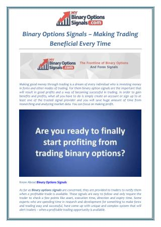 Binary Options Signals – Making Trading Beneficial Every Time