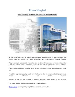 Leading Multispecialty Hospital | World-class Facilities in Pune