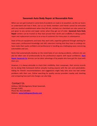Savannah Auto Body Repair at Reasonable Rate