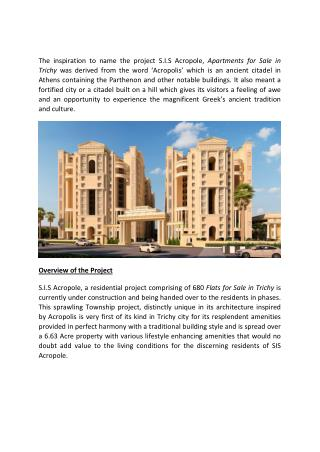 Apartments for sale in Trichy - SIS