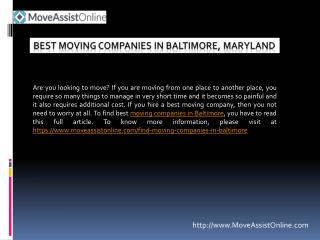 2016's Top Moving Companies in Baltimore, Maryland
