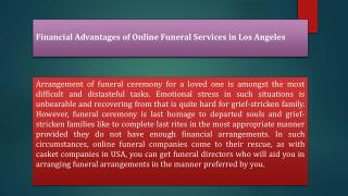 Financial Advantages of Online Funeral Services in Los Angeles