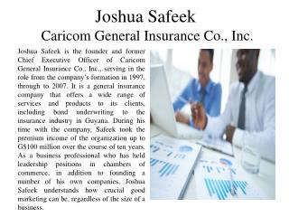 Joshua Safeek - Caricom Cement Co., Inc.