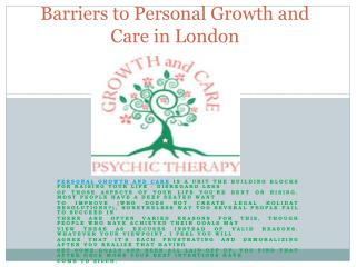 Barriers to Personal Growth and Care in London