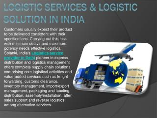 Logistic Services & Logistic Solution in India