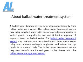 Ballast Water Treatment Management System - Aqua Logistics