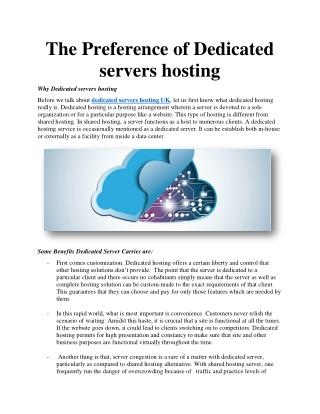 The Preference of Dedicated servers hosting
