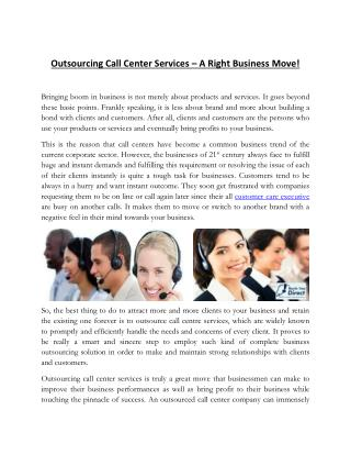 Expand Your Business With The Assistance Of Outsourced Call Center Services