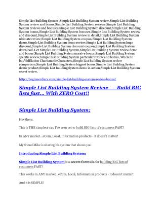 Simple List Building System Review – (Truth) of Simple List Building System and Bonus