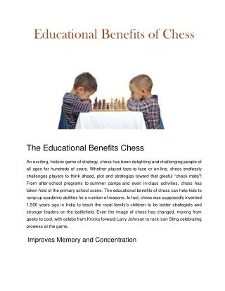 Educational Benefits Of Chess