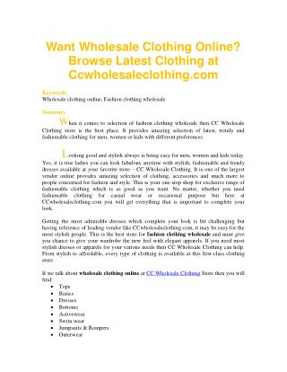 Want Wholesale Clothing Online? Browse Latest Clothing at Ccwholesaleclothing.com