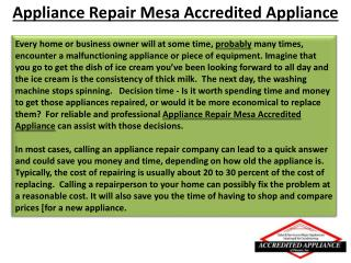 Appliance Repair Mesa Accredited Appliance