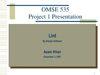 OMSE 535 Project 1 Presentation