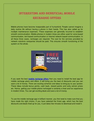 Interesting and Beneficial Mobile Recharge Offers