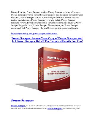 Power Scraper review and (Free) $21,400 Bonus & Discount