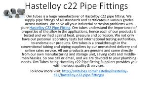 Hastelloy c22 Pipe Fittings