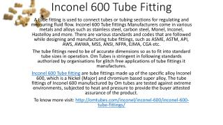 Inconel 600 Tube Fitting