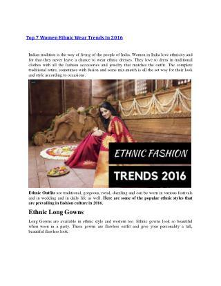 Top 7 Women Ethnic Wear Trends In 2016