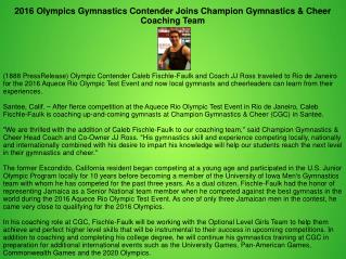 2016 Olympics Gymnastics Contender Joins Champion Gymnastics & Cheer Coaching Team