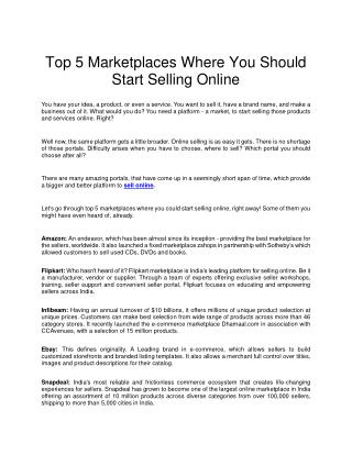 Top 5 Marketplaces Where You Should Start Selling Online