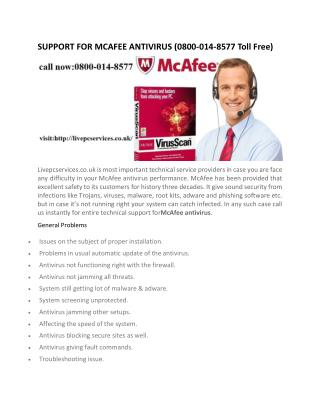 mcafee customer service number
