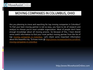 Looking for Top Moving Companies in Columbus?