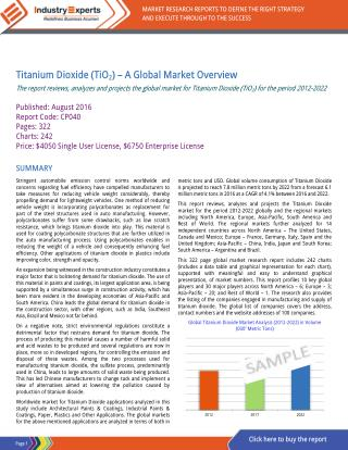 Booming Construction and Automotive Industries Spur Demand for Titanium Dioxide to touch 7.8 Million MTs by 2022