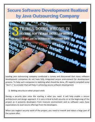Secure Software Development Realized by Java Outsourcing Company