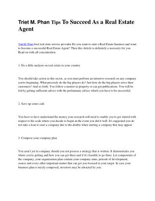 Triet M. Phan Marketing Tips For Your Real Estate Investment