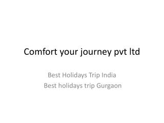 Best Holidays Trip India