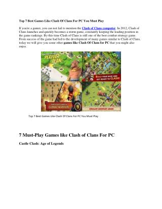 Top 7 Games Like Clash Of Clans For PC
