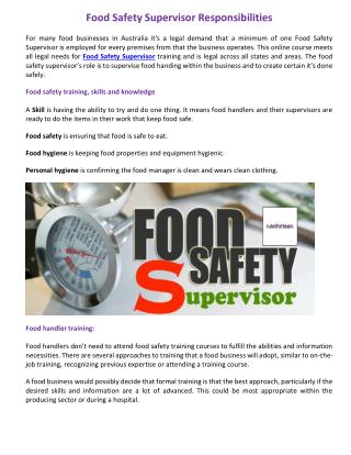Food Safety Supervisor Responsibilities