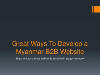 Great Ways To Develop a Myanmar B2B Website