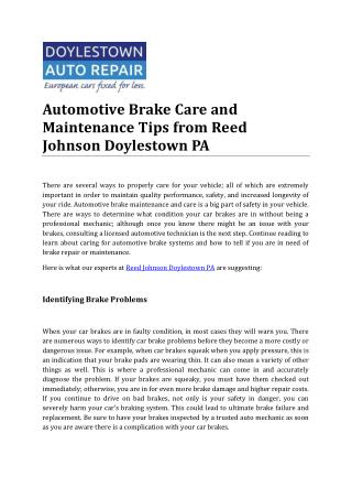 Automotive Brake Care and Maintenance Tips from Reed Johnson Doylestown PA