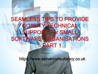 SEAMLESS TIPS TO PROVIDE QUALITY TECHNICAL SUPPORT For SMALL SOFTWARE