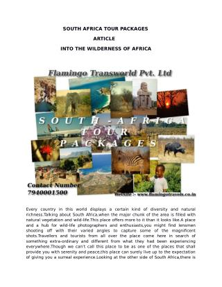 Visit South Africa Tour - one of the most exciting destinations on earth, with Flamingo Travels Travel